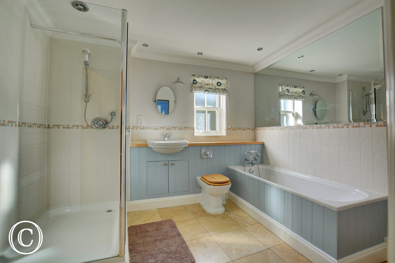 Spacious, modern ground floor bathroom with bath and separate shower cubicle