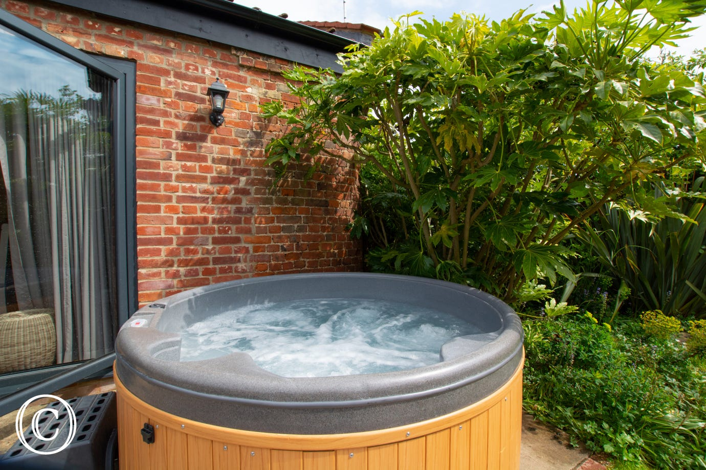 Unwind at the end of the day in the outdoor hot tub