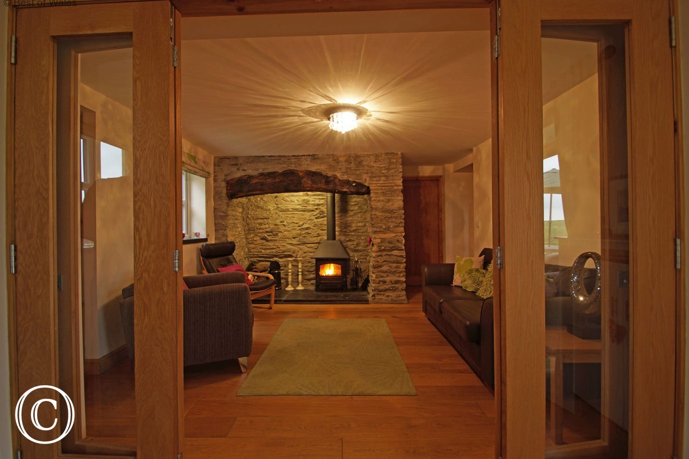 Cosy holiday accommodation in North Wales with a multi-fuel stove