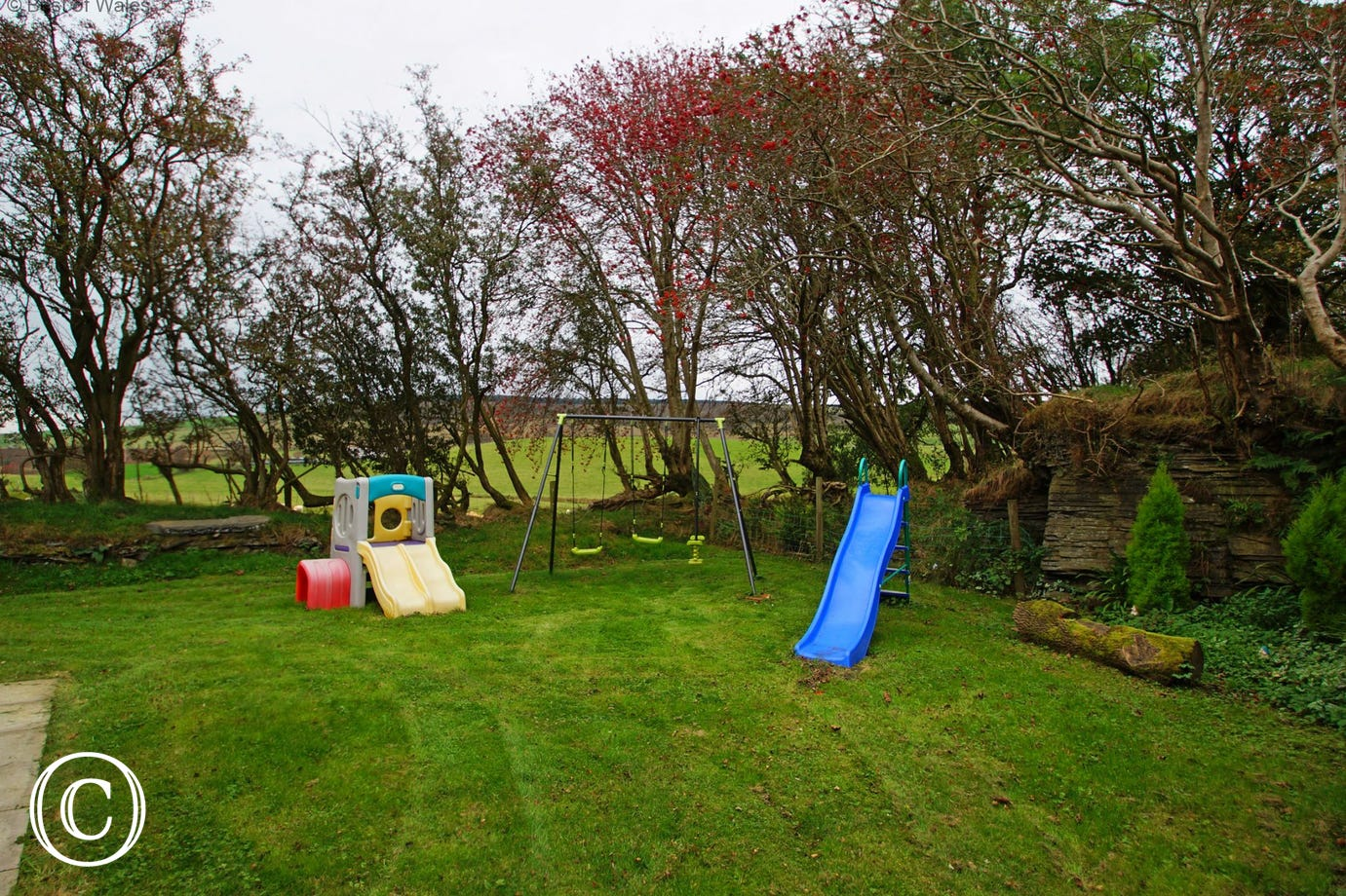 Enclosed play area with indoor and outdoor toys